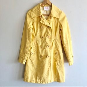 Tulle Yellow Trench Coat Rain Coat Jacket XS